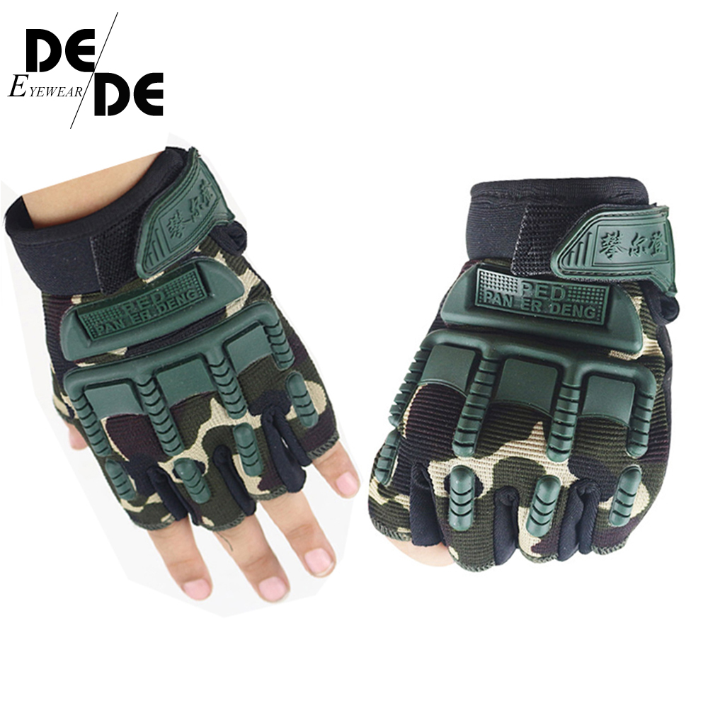 5-13 Years Old Kids Tactical Fingerless Gloves Military Armed Anti-Skid Rubber Knuckle Half Finger Boys Girls Children Gloves
