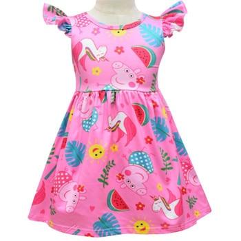 Vestido de peppa pig para niñas, falda sin mangas con dibujos florales, ropa para niños, vestidos de cumpleaños y Navidad, disfraz informal