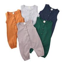 Baumwolle Weiche Baby Strampler Unisex Solide Oansatz Baby Kleidung Ärmelloses Kleinkind Mädchen Romper Sommer Neugeborenen Kleidung 0-24 Monate