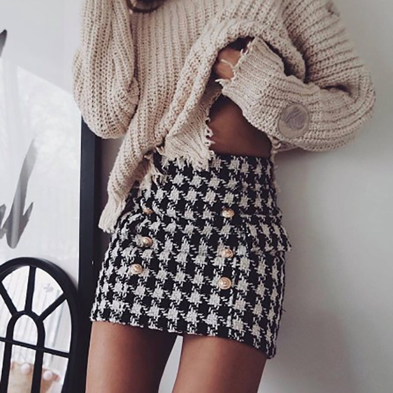 New Fashion Women Black And White Skirts Gold Buttons Double Breasted Goose Feet Tweed Skirt