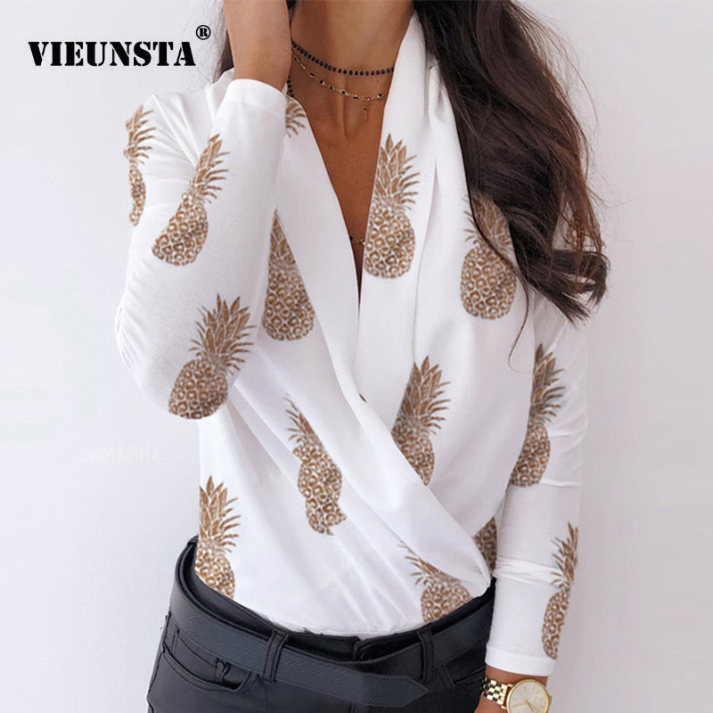 Women Ruched Deep V-neck Pineapple Shirt Autumn Elegant Long Sleeve Streetwear Blouse Sexy Slim Casual Shirts Ladies Tops Blusas