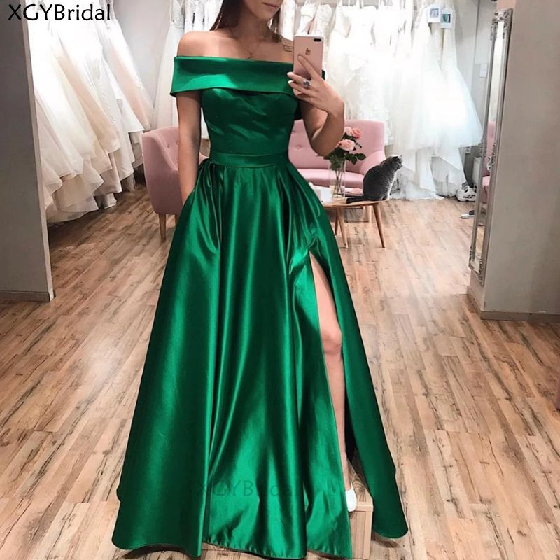 New Arrival Elegant Evening Dresses Green Strapless Satin Slit Long Prom Dresses Party Prom Gown with Pockets Robe De Soiree