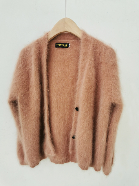 100% Real Mink Cashmere Sweaters Women New Basic Button Customize Big Size Factory Natural Mink Cashmere Cardigans tsr879 3