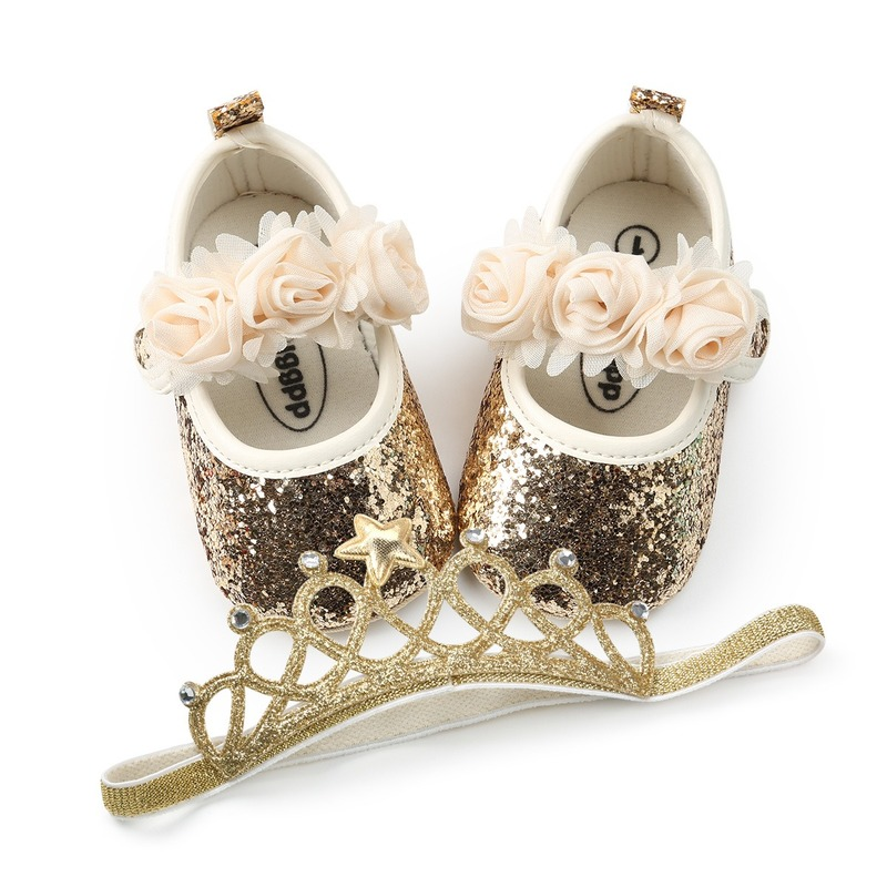 New Baby Girl Shoes Bling Bling Princess Baby Floral Shoes First Walkers Newborn First Walkers For Girls + Crown Headband