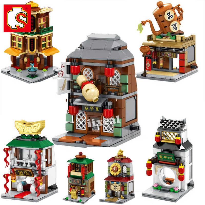 Creator Ziegel Chinesischen Stil Architektur Bausteine Fit Lego City Mini Street View Chinatown Restaurant Spielzeug SEMBO BLOCK