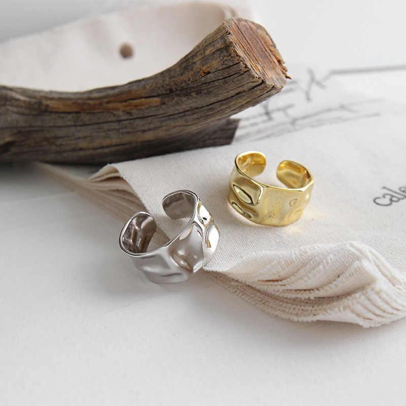 Eds 925 anéis de prata esterlina feminino anéis 925 prata do vintage coreano moda jóias anéis irregulares anéis ajustáveis anéis grandes