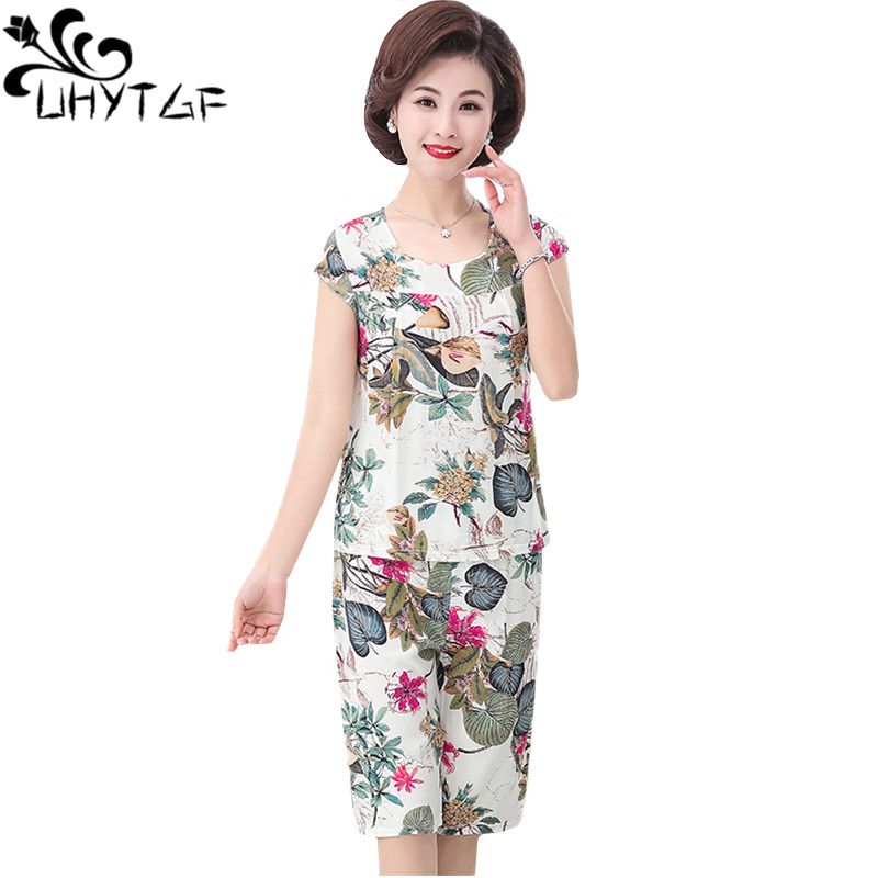 UHYTGF Women's summer suit Cotton silk printing short sleeve top tracksuit elegant mother comfortable plus size 2 piece set 1651