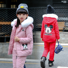 2019 Children Kids girls Clothing Winter Sets Hooded Coat Suits padded cotton Coat+Pant+vest 3Pcs Clothes set 5 6 8 12 15 Years basik kids vest hooded gray melange kids clothes children clothing