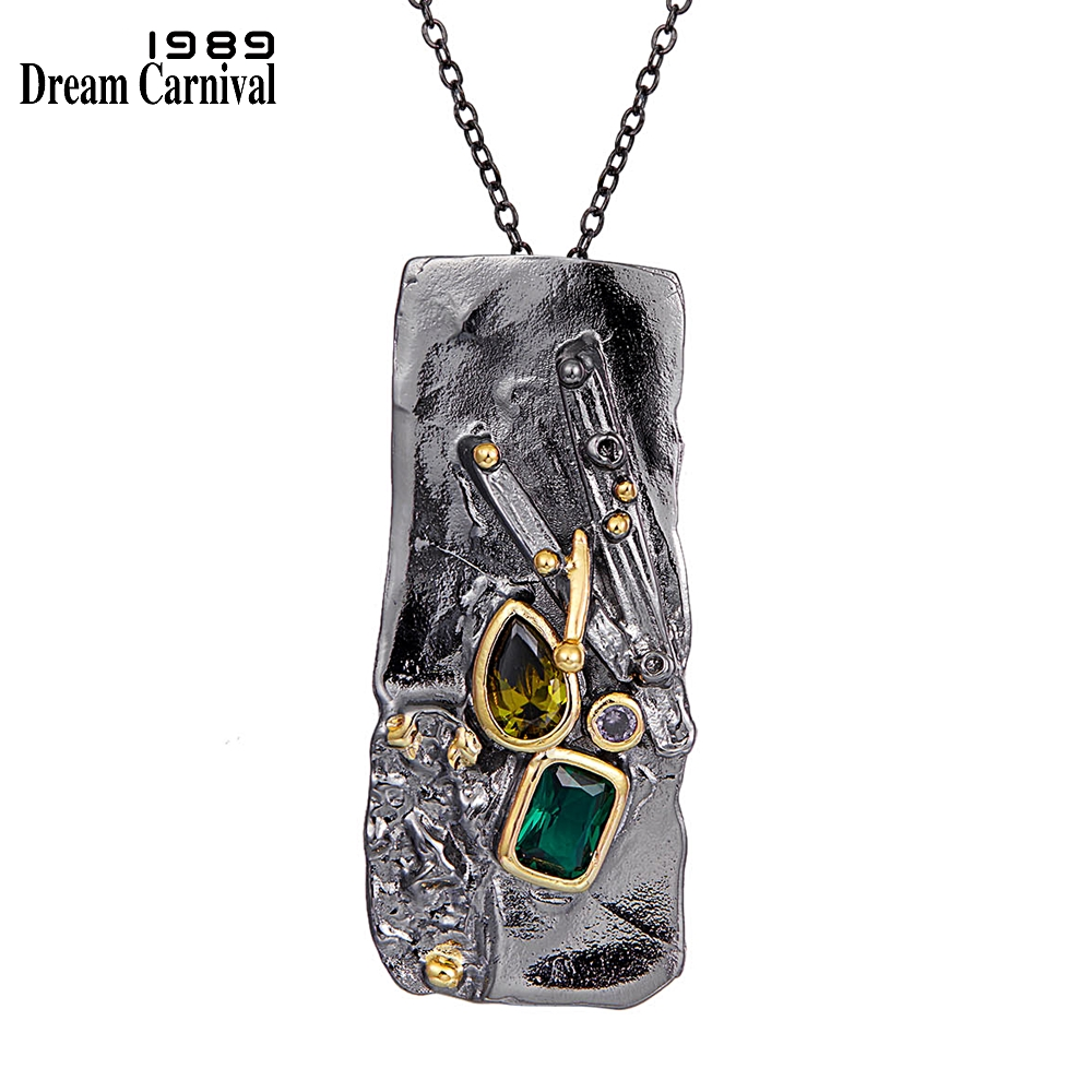 WP6678 DreamCarnival1989 New Gothic Collection Zircon Rectangle Pendant Necklace Women Exaggerated Personality Black Gold Color (1)