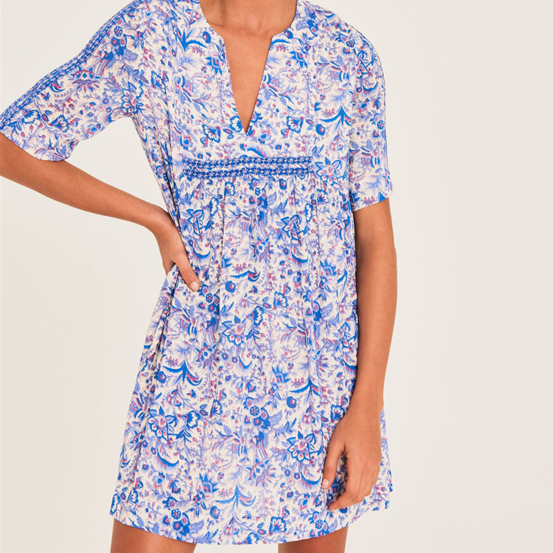 Mini Dresses Short-Sleeve Female Clothes Pleated Summer V-Neck Floral-Printing Loose