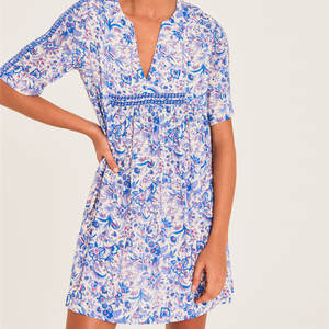 Mini Dresses Female Clothes Floral-Printing Summer Lady Short-Sleeve V-Neck Pleated Loose