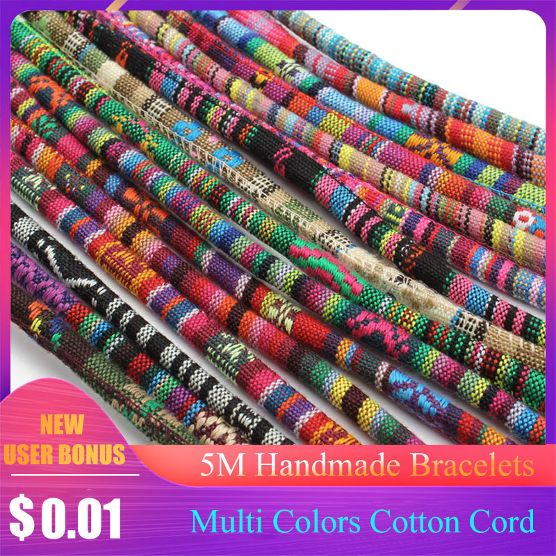 5 Meter Multi Colors Cotton Cord Handmade 6mm Round Fabric Ethnic Rope Textile Wrap Embroider Cords For DIY Bracelets Making