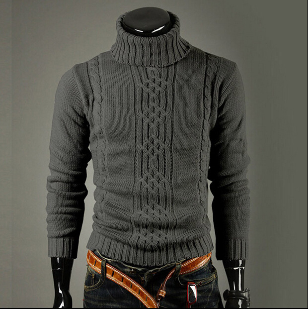 Winter Casual High Collar High Lapel Sweater Warm Irregular Cable Knitting Men High Collar Sweater
