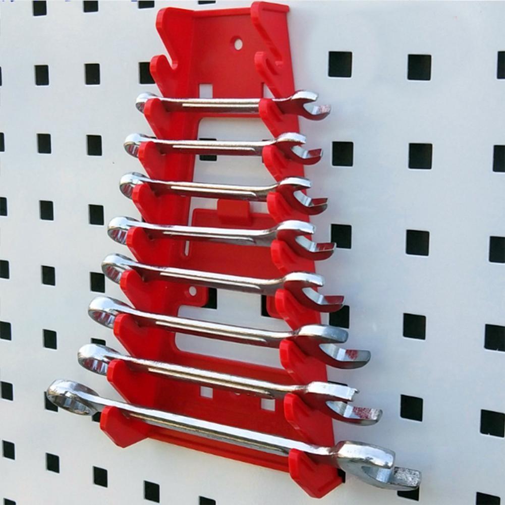 Red Wrench Spanner Tool Organizer Sorter Holder Wall Mounted Tool Storage Tray Socket Storage Rack Plastic Tools Organizer