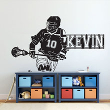 Lacrosse Personalised Wall Decal Lacrosse Logo Home Decor Sports Vinyl Sticker Kids Teens Room Sports Room Decoration NR54 недорого