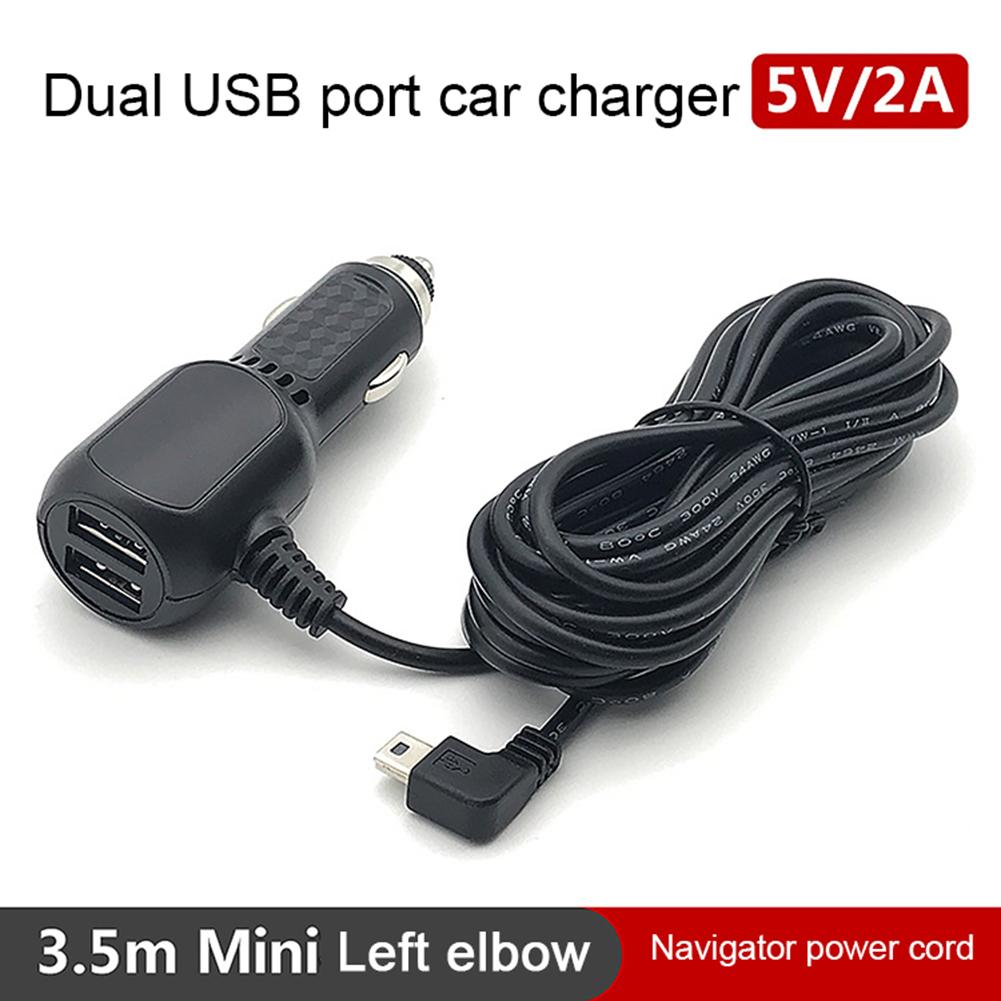 1PC <font><b>12V</b></font> 4A Mini / Micro <font><b>Cable</b></font> Interface Dual <font><b>USB</b></font> Port <font><b>Car</b></font> Charger For Dash Cam <font><b>DVR</b></font> RF Charging With 3.5m <font><b>Cable</b></font> image