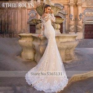 Image 4 - נתיק בת ים חתונת שמלות ארוך שרוול Vestido דה Novia 2020 אתל ROLYN סקסי מתוקה כלה שמפניה כלה שמלות