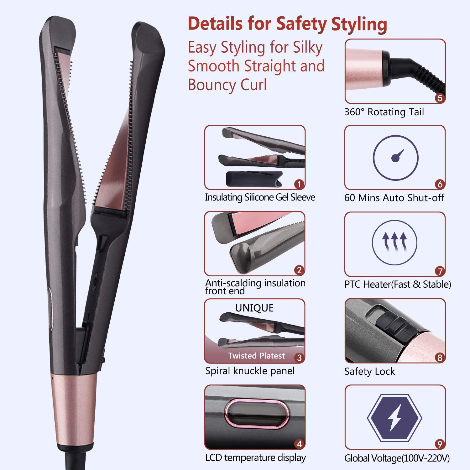 Купить с кэшбэком Professional Culer Wand Twisted Plate 2 in 1 Hair Flat Iron Ceramic Curling Iron Hair Curler Hair Styling Tool Hot Comb