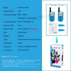Image 5 - RETEVIS RT388 Walkie Talkie çocuklar telsiz 2 adet Mini İki yönlü radyo istasyonu PMR noel hediyesi/aile kullanımı/kamp 100 800M