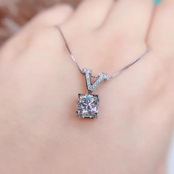 Aladdin 1-2ct V-type Round Moissanite pendant 18K White Gold  925 Silver necklace Women's jewelry gift pass inspection