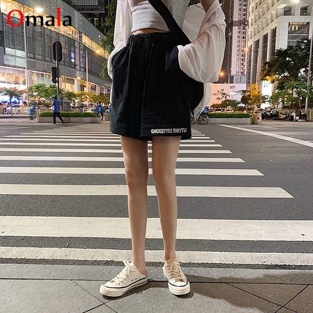 fashion 100% cotton Shorts Women Loose All-match Korean gray black Leisure Female Simple letter embroidery elastic jogger shorts 4