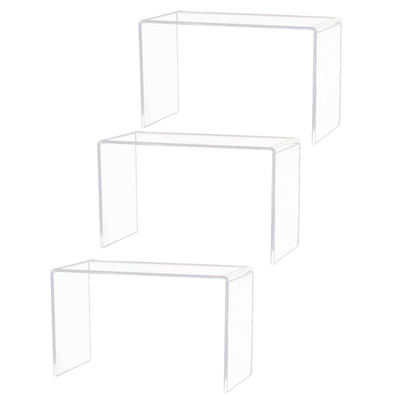 2pcs Acrylic Display Risers Showcase Retail Stand Toys Action Figures Rack