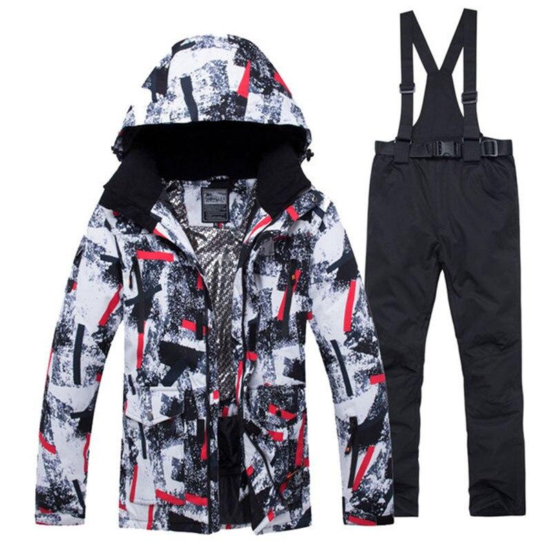 Colorful Men's Snow Suit Set 10k Waterproof Windproof Winter Outdoor Wear Snowboarding Clothing Ski Jacket + Bibs Snow Pant Male