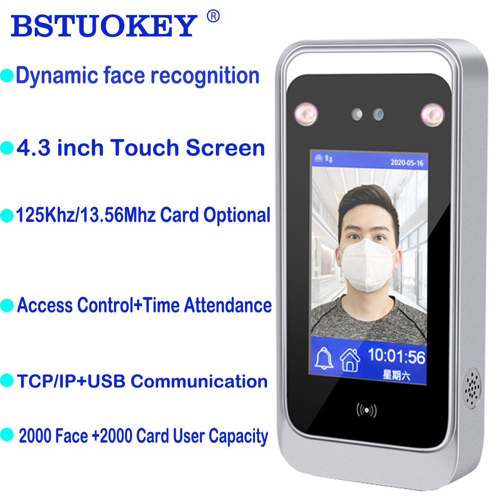 4.3 Inch Touch Screen Dynamic Face Recognition Time Attendance Access Control Employee Time Clock 125Khz 13.56Mhz Attendance