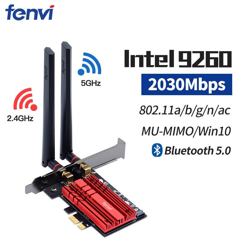 2030 Мбит/с беспроводной-AC PCI-E Беспроводной Wi-Fi адаптер с Intel 9260NGW 802.11ac с двухдиапазонным Bluetooth 5,0 для Win10 рабочего стола