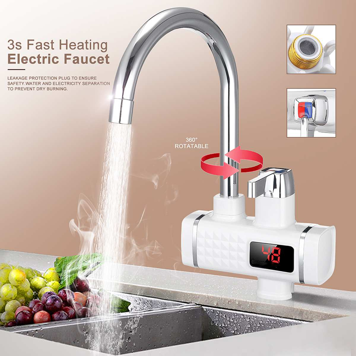 220V 3000W Electric Faucet Tap Hot Water Heater Instant Digital Display Home Bathroom Kitchen Hot Water Faucet Heating Heater