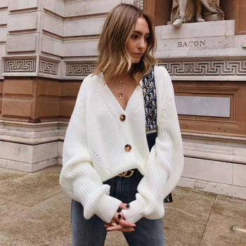 Zoki Women Knitted Cardigans Sweater Fashion Autumn Long Sleeve Loose Coat Casual Button Thick V Neck Solid Female Tops 2021 5