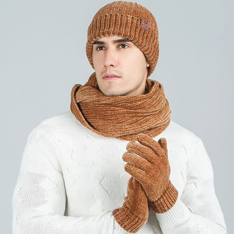 Unisex Winter Ribbed Knit Long Scarf Beanie Hat Touch Screen Gloves 3 Piece Set C6UD