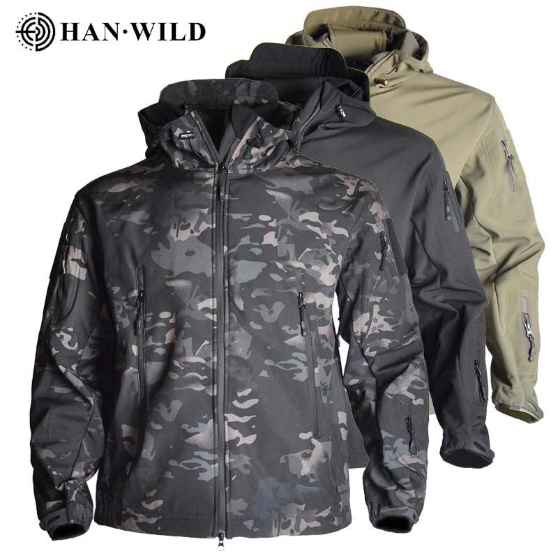 Outdoor Shark Skin Hunting Jackets Shell Military Tactical Jacket Men Waterproof Fleece Clothing Multicam Coat Windbreakers 5XL