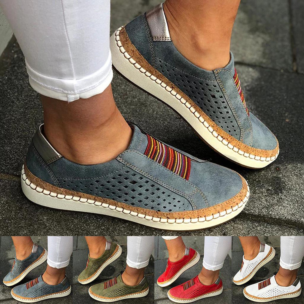 Women Slip On Sneakers Casual Breathable Soft Leather Autumn Winter Vulcanize Shoes Fashion Flat White Red Tenis Comfy Loafers