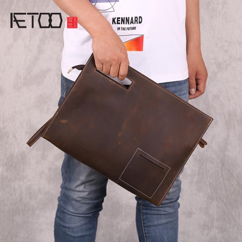 AETOO Mad horse leather handbag, men's leather shoulder envelope bag, A4 paper paper bag, large-capacity clip bag