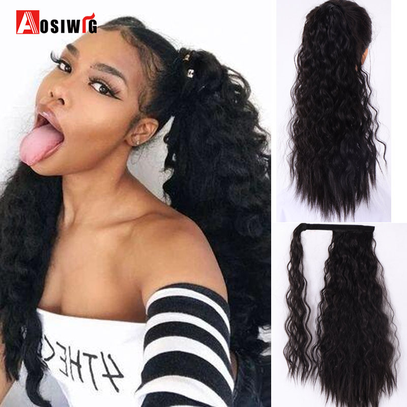 AOSI Corn Wavy Long Ponytail Synthetic Hairpiece Wrap On Clip Hair Extensions Black Brown Ponytail Fake Hair Heat Resistant