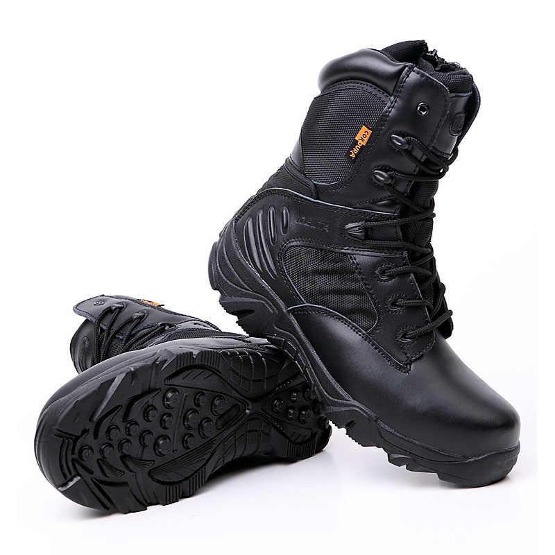 Kış sonbahar erkek askeri bot taktik çöl savaş ayak bileği botları Militares ordu iş ayakkabısı deri kar botları Chaussure Homme