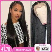 Рэми прямые 13x4 Синтетические волосы на кружеве парик из натуральных волос, топперы 150% бразильские волосы Для женщин парик Плетеный Up предварительно вырезанные фронтальной, вшитые в тканное полотно