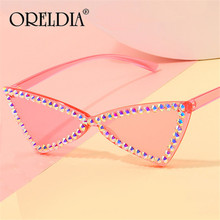 Candy Color Rhinestone Cat Eye Sunglasses