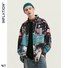 INFLATION свободная Мужская рубашка 2019 FW Harajuku цифровая печать мужские рубашки с длинным рукавом хип хоп большие мужские Топы Рубашки 92156W