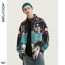 Inflation loose fit men shirt 2019 fw 하라주쿠 디지털 인쇄 남성 셔츠 긴 소매 힙합 대형 남성 탑 셔츠 92156 w