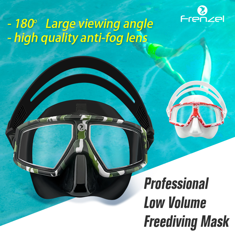 Diving Mask Snorkel FRENZEL Professional Low Volume Spearfishing Scuba Soft Silicone Anti Fog Swimming  RoseRed&ArmyGreen Set