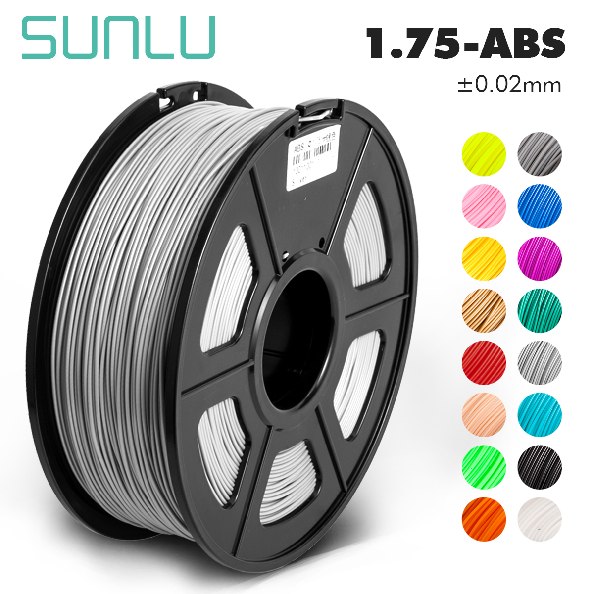 SUNLU ABS black electrical 3D transparent abs filament 1.75mm 1KG/roll for 3d printer with 1.75mm abs for kids designing toys 3D Printing Materials     - title=