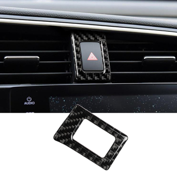 Car Double Flash Frame Cover Trim Sticker For Honda Civic 10th Gen 2016-2019 Warning Light Switch Carbon Fiber Decor Accessories image