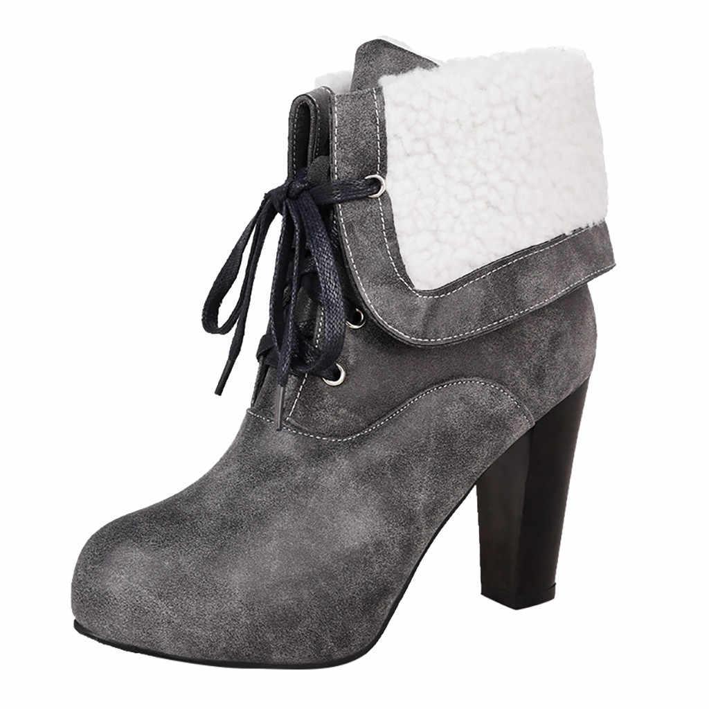 แฟชั่นรองเท้าผู้หญิงสี Pure Pu รอบ Toe Lace-Up ส้นสูงผู้หญิงรองเท้าผู้หญิงรองเท้า botas feminina