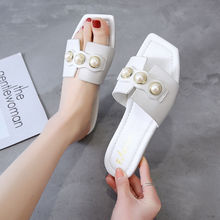 Flat slippers ladies casual summer shoes for women's sexy pearl squre toe superstar slippers woman slide