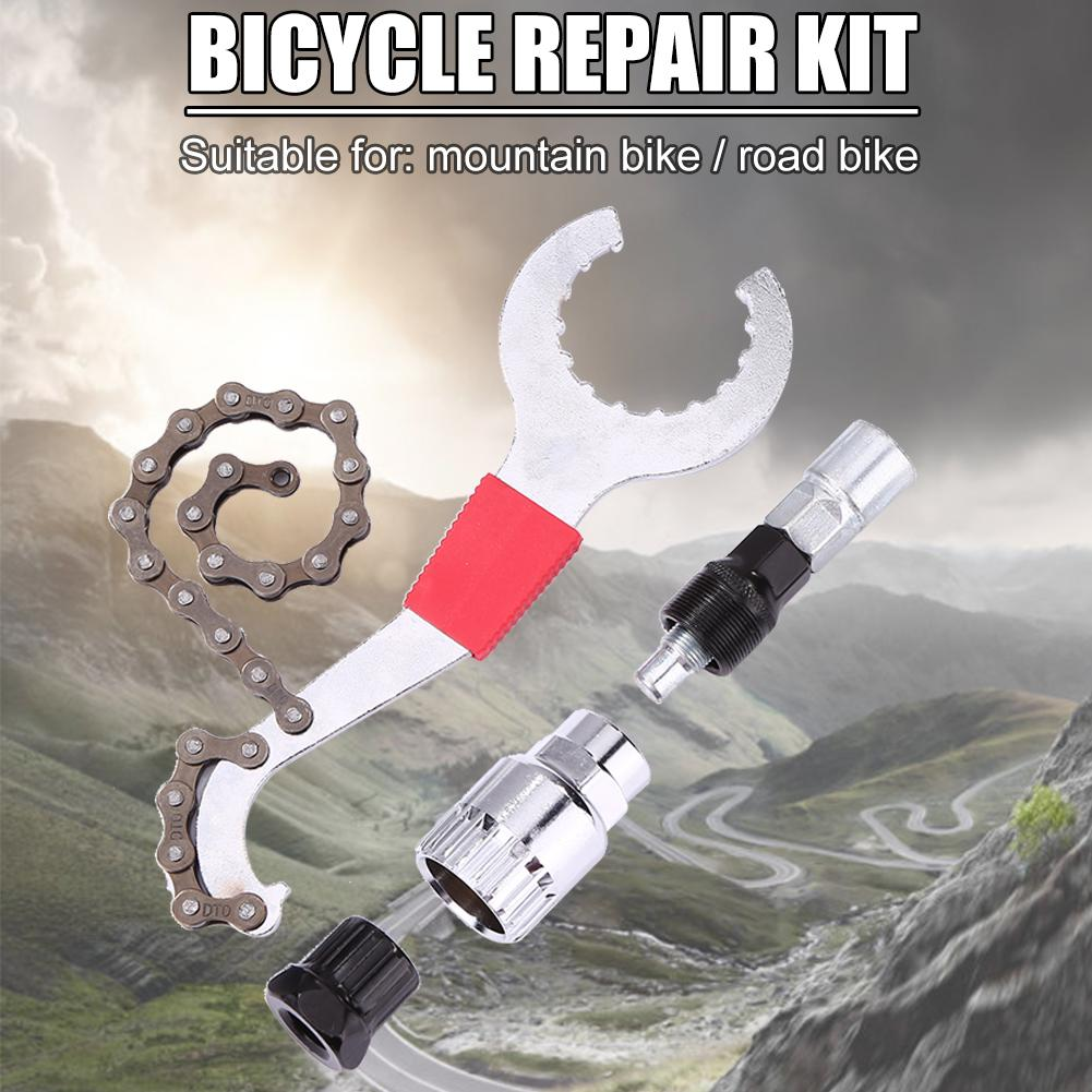 Mountain Bike Repair Tool Kits Bicycle Chain Removal/Bracket Remover/Freewheel Remover/Crank Puller Remover Outdoor Bike Tools
