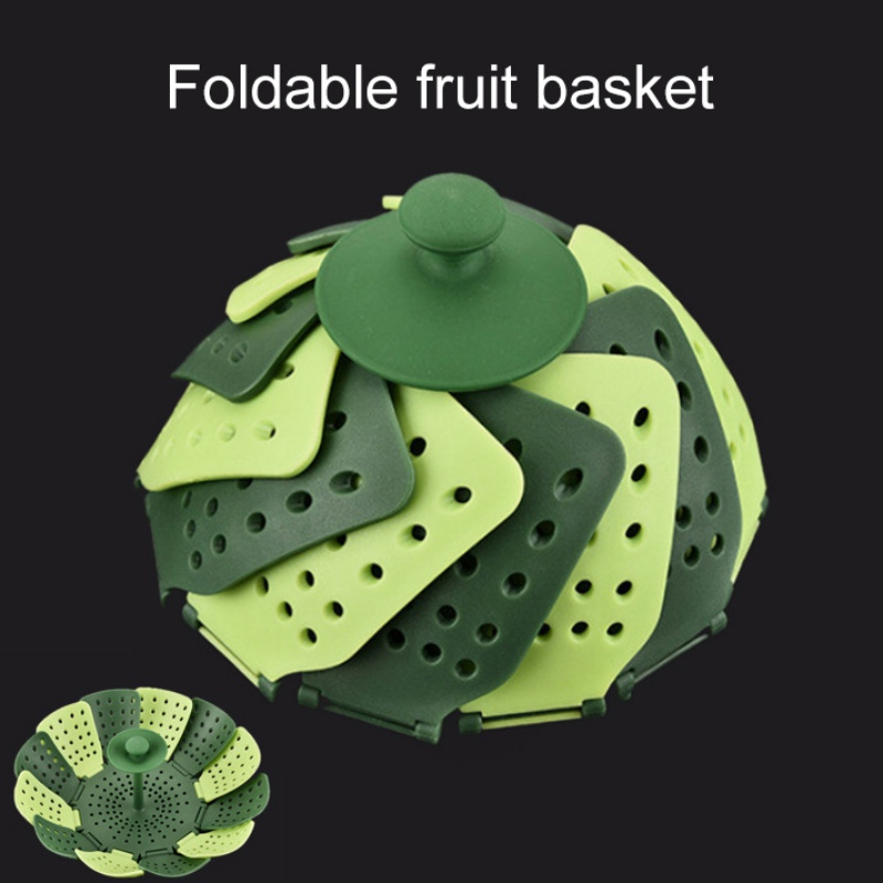 Retractable Folding Steamer Portable Multi-Function Fruit Bowl Filter Water Drain Kitchen Cooking Gadgets