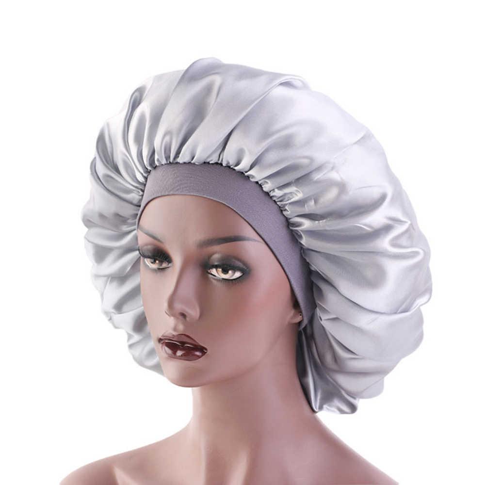 女性ソフト純粋なサテンシルク睡眠キャップ夜の睡眠帽子ヘアケアスカーフボンネットナイトキャップ黒/シルバー/紺