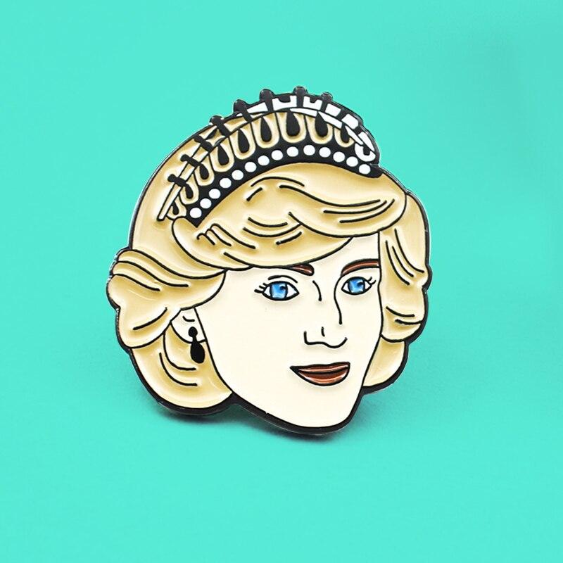 Женская эмалированная брошь на пуговицах, значок принцессы Дианы Спенсера на годовщину, подарок